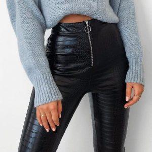 Simplee Vintage Snake Pu Leather Skinny Pants Women Streetwear High Waist Zipper Female Pants Pu Punk Pencil Spring Trousers