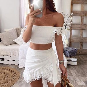 Simple Sexy Lace Embroidery Tube Top Women Party Dress Elegant Ruffled Hollow Out Short Dress Summer Ladies White Dress Vestido