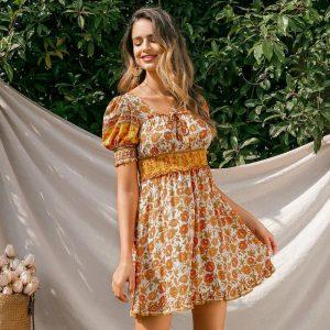 Bohemian Puffy Short Dress