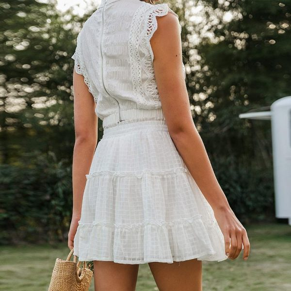 Simple Two-Piece White Holiday Dress Women Sleeveless Hollow Out Ruffle Lace Up Mini Dresses Summer Short Top Skirt Lady Dress