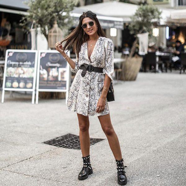Hippie Python Printed Short Dress