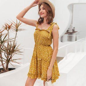 Bohemian Chic Mustard Dress
