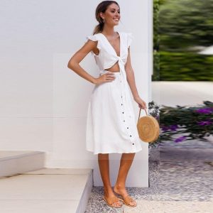 White flowing bohemian dress