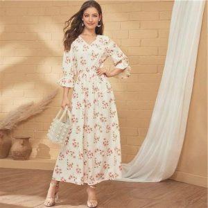 Beige bohemian dress