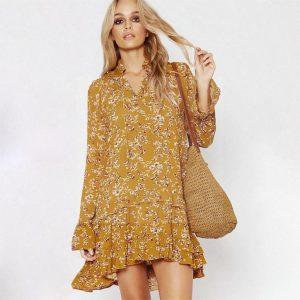 Yellow hippie chic dress