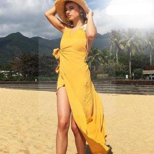 Bohemian yellow maxi dress